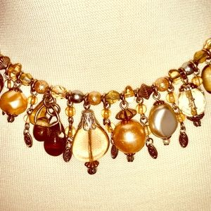 Pearl and  golden topaz colored stone choker